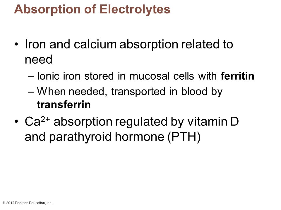 Absorption of Electrolytes