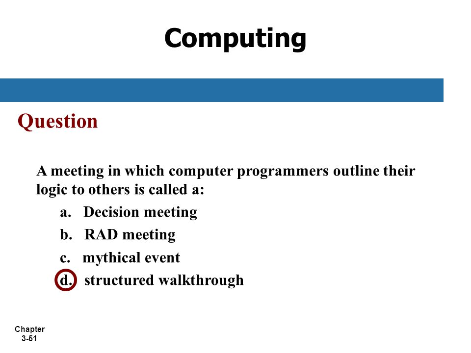 Computing Question. A meeting in which computer programmers outline their logic to others is called a: