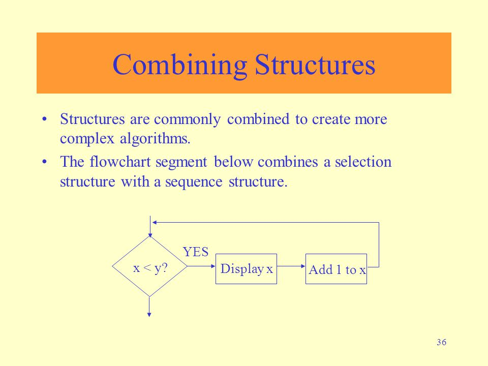 Combining Structures Structures are commonly combined to create more complex algorithms.