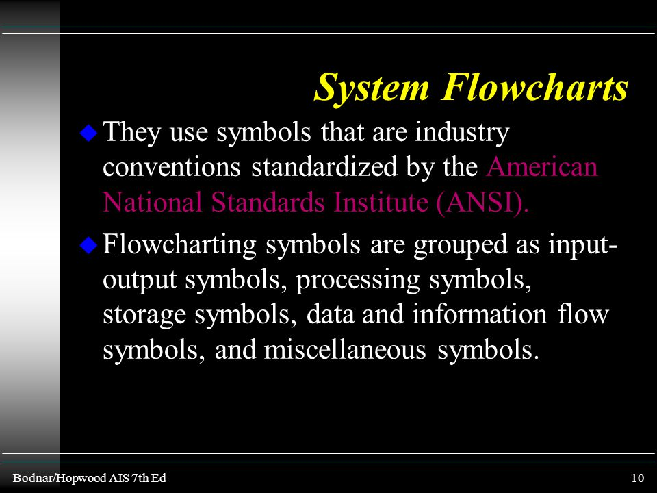 System Flowcharts They use symbols that are industry conventions standardized by the American National Standards Institute (ANSI).
