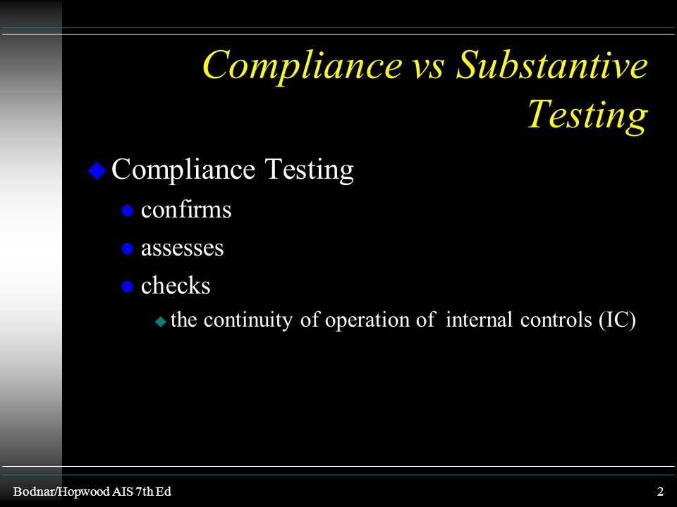 Compliance vs Substantive Testing