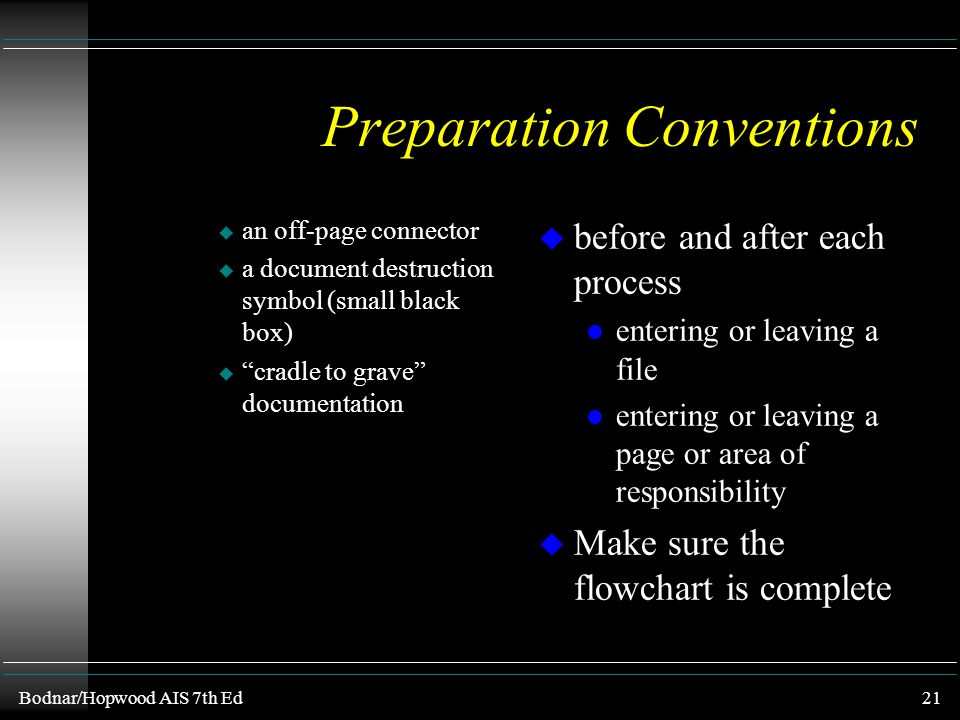 Preparation Conventions