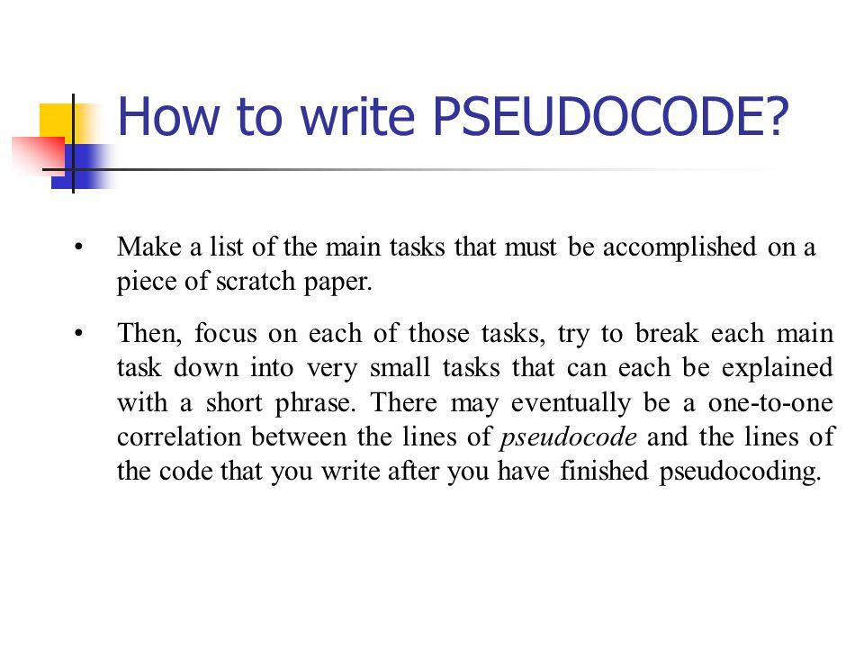 How to write PSEUDOCODE