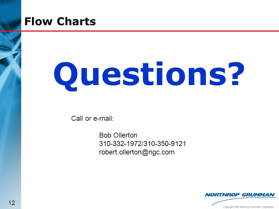 Questions Flow Charts Call or e-mail: Bob Ollerton