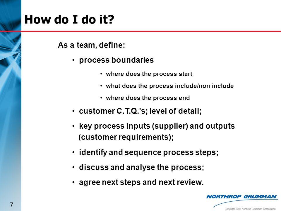 How do I do it As a team, define: process boundaries