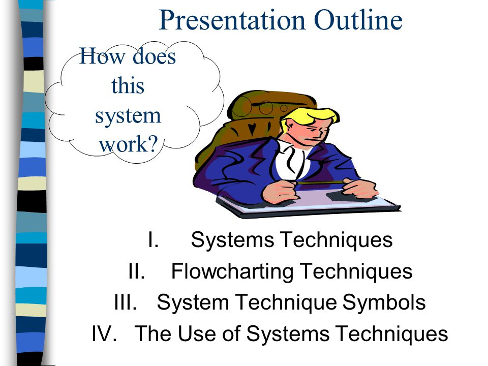 Presentation Outline How does this system work Systems Techniques