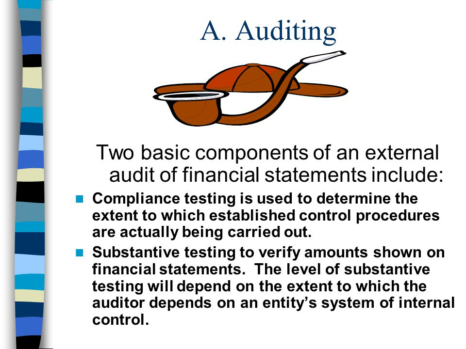 A. Auditing Two basic components of an external audit of financial statements include: