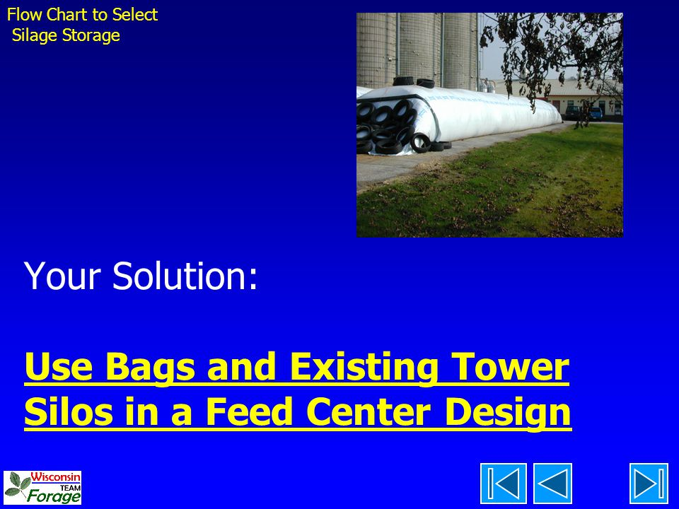 Flow Chart to Select Silage Storage. Your Solution: Use Bags and Existing Tower Silos in a Feed Center Design.