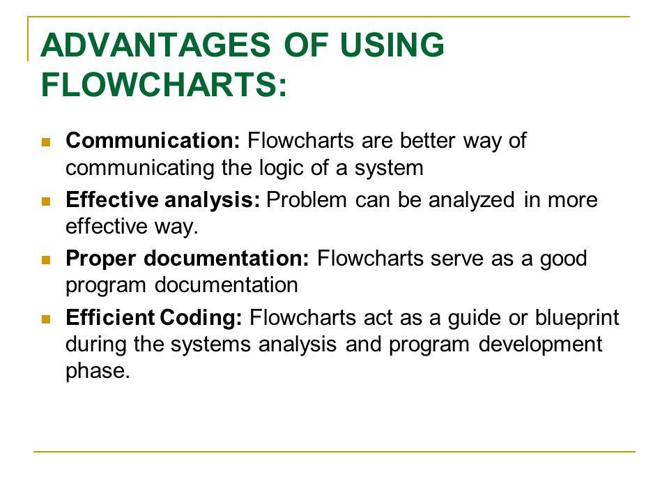ADVANTAGES OF USING FLOWCHARTS: