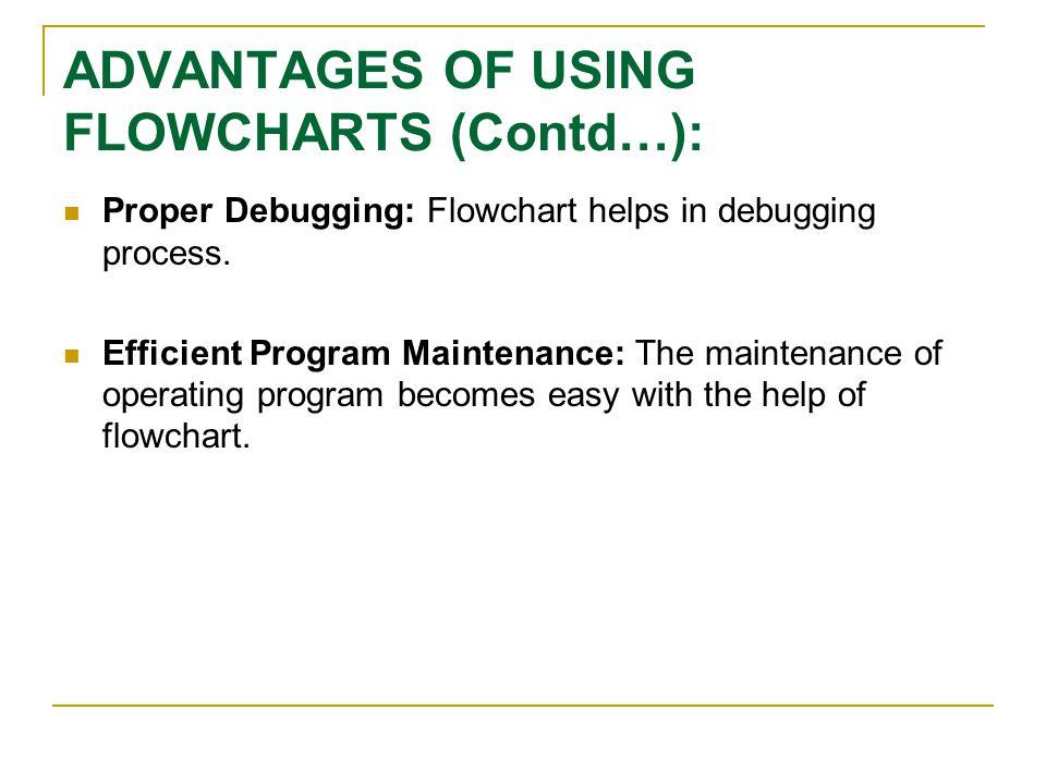 ADVANTAGES OF USING FLOWCHARTS (Contd…):