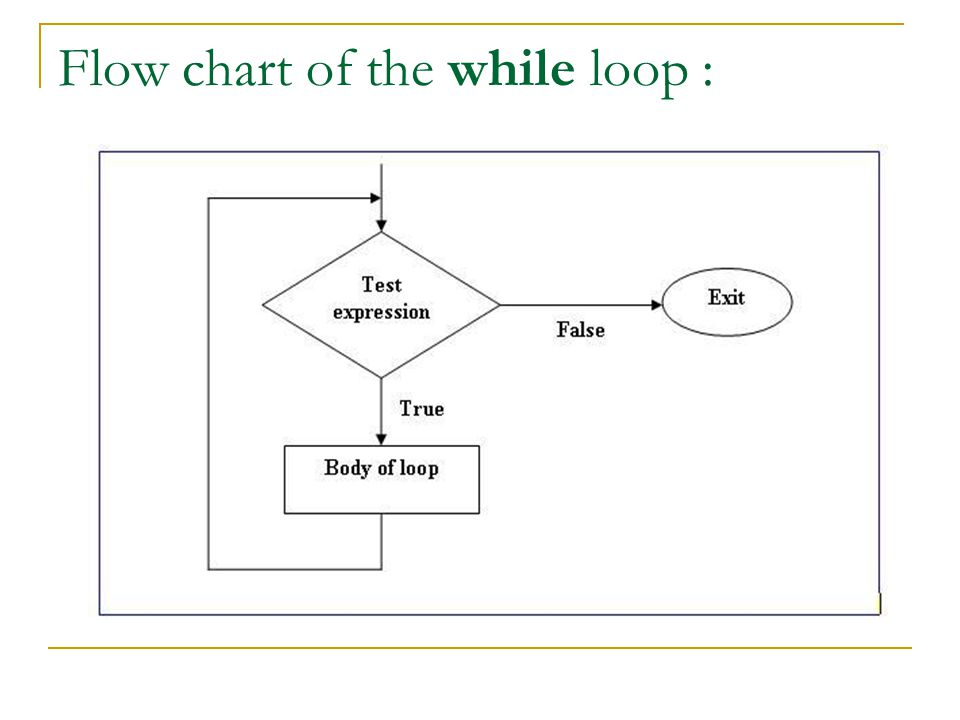 Flow chart of the while loop :