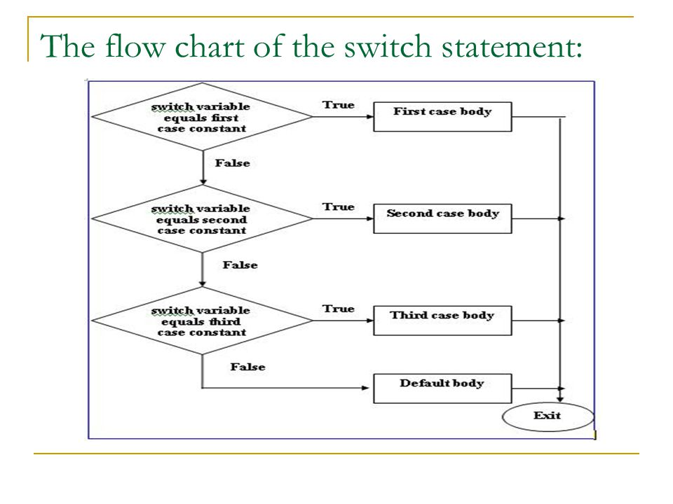 The flow chart of the switch statement: