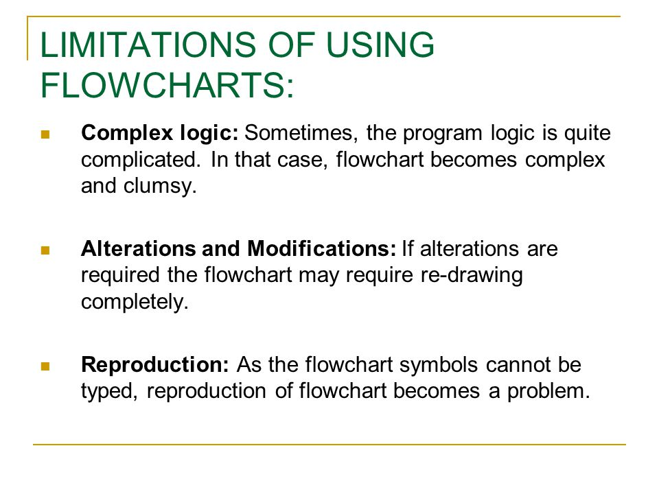 LIMITATIONS OF USING FLOWCHARTS: