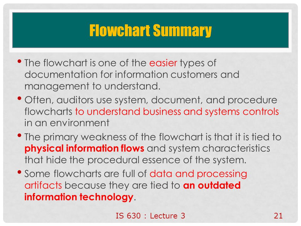 4/15/2017 Flowchart Summary. The flowchart is one of the easier types of documentation for information customers and management to understand.