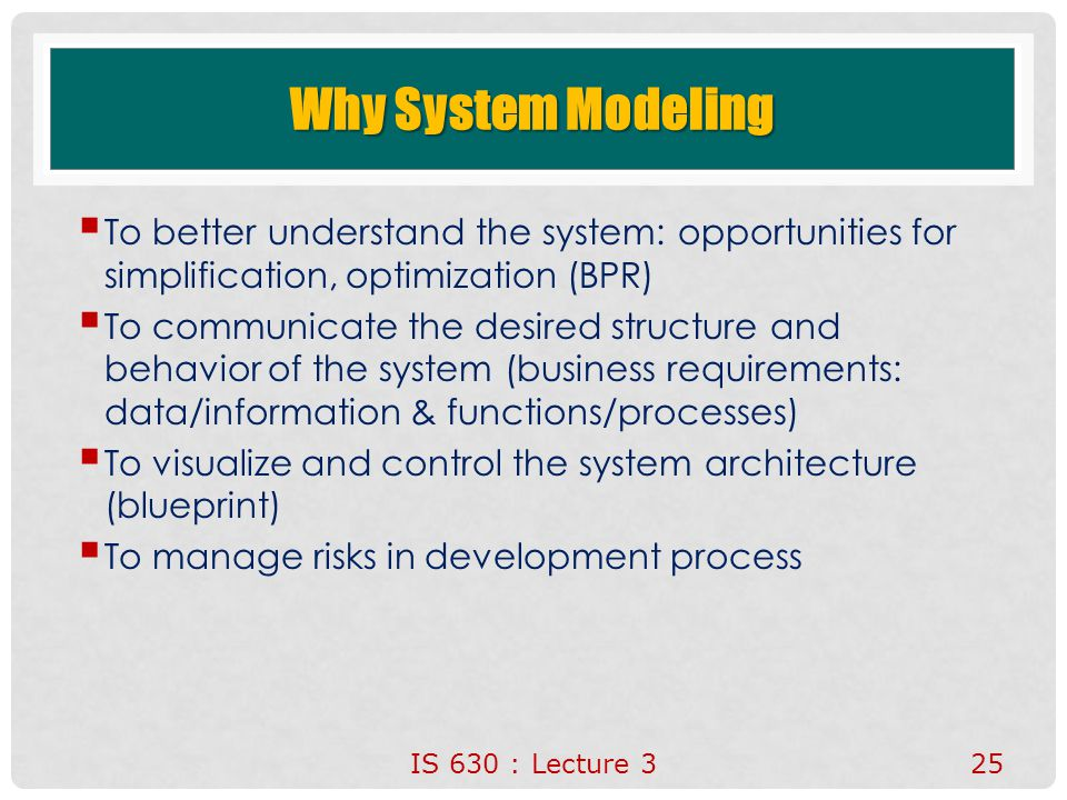 Why System Modeling To better understand the system: opportunities for simplification, optimization (BPR)