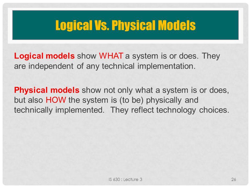 Logical Vs. Physical Models