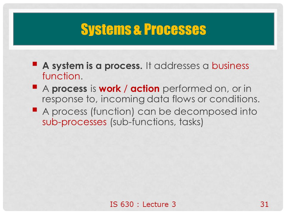 Systems & Processes A system is a process. It addresses a business function.