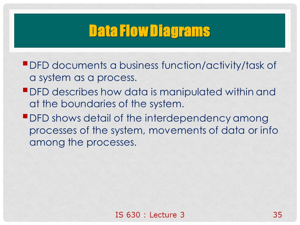 Data Flow Diagrams DFD documents a business function/activity/task of a system as a process.