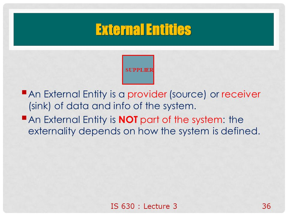 External Entities An External Entity is a provider (source) or receiver (sink) of data and info of the system.