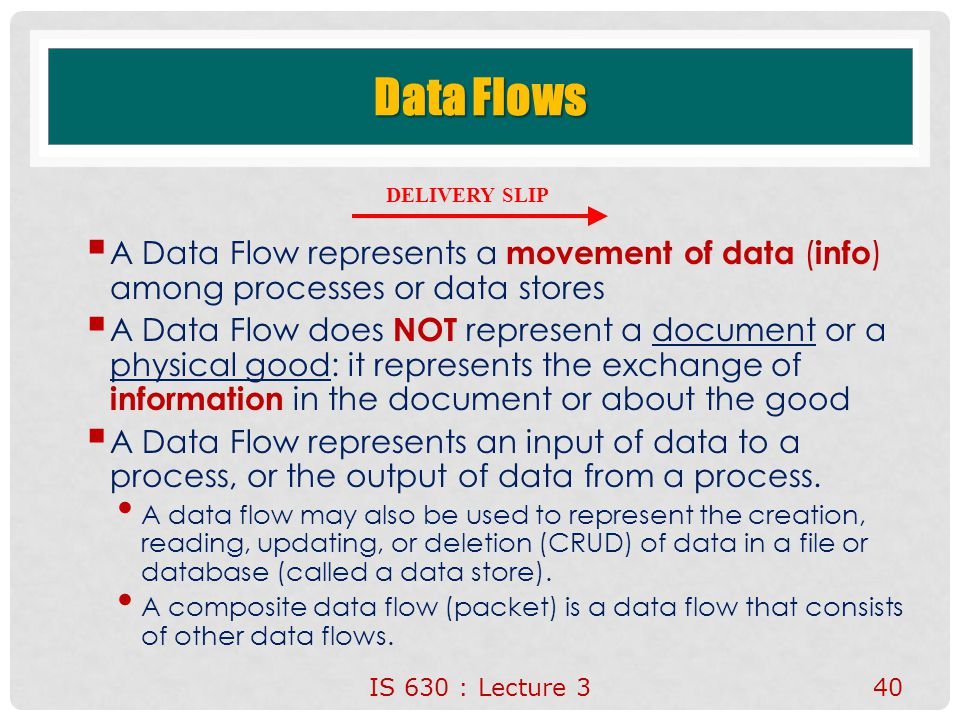 Data Flows DELIVERY SLIP. A Data Flow represents a movement of data (info) among processes or data stores.