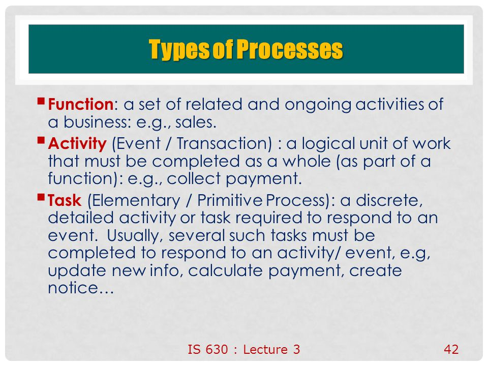Types of Processes Function: a set of related and ongoing activities of a business: e.g., sales.