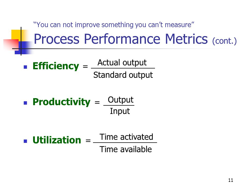 Efficiency = Productivity = Utilization = Actual output
