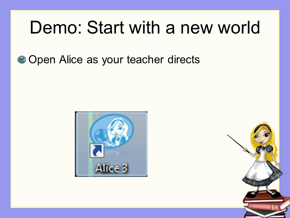 Demo: Start with a new world