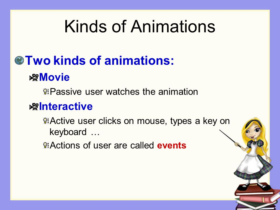 Kinds of Animations Two kinds of animations: Movie Interactive