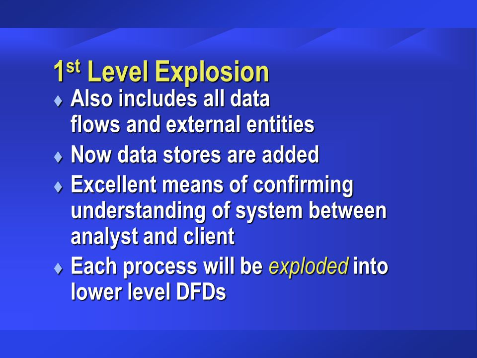 1st Level Explosion Also includes all data flows and external entities