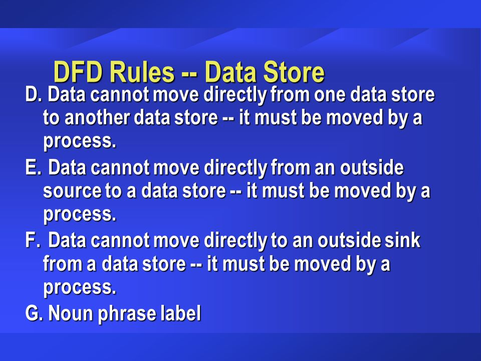DFD Rules -- Data Store D. Data cannot move directly from one data store to another data store -- it must be moved by a process.