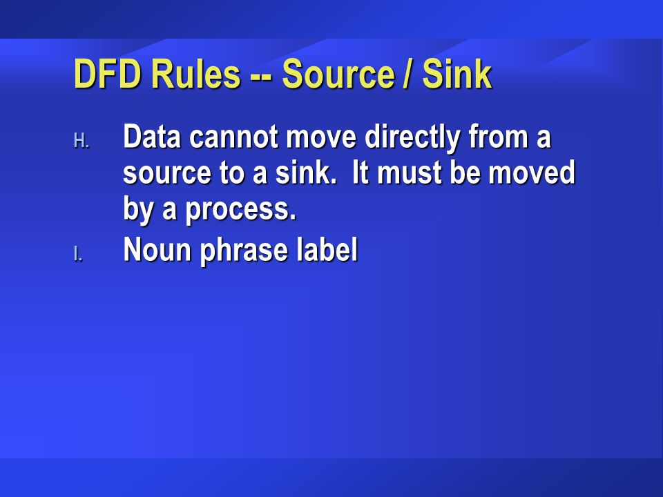DFD Rules -- Source / Sink
