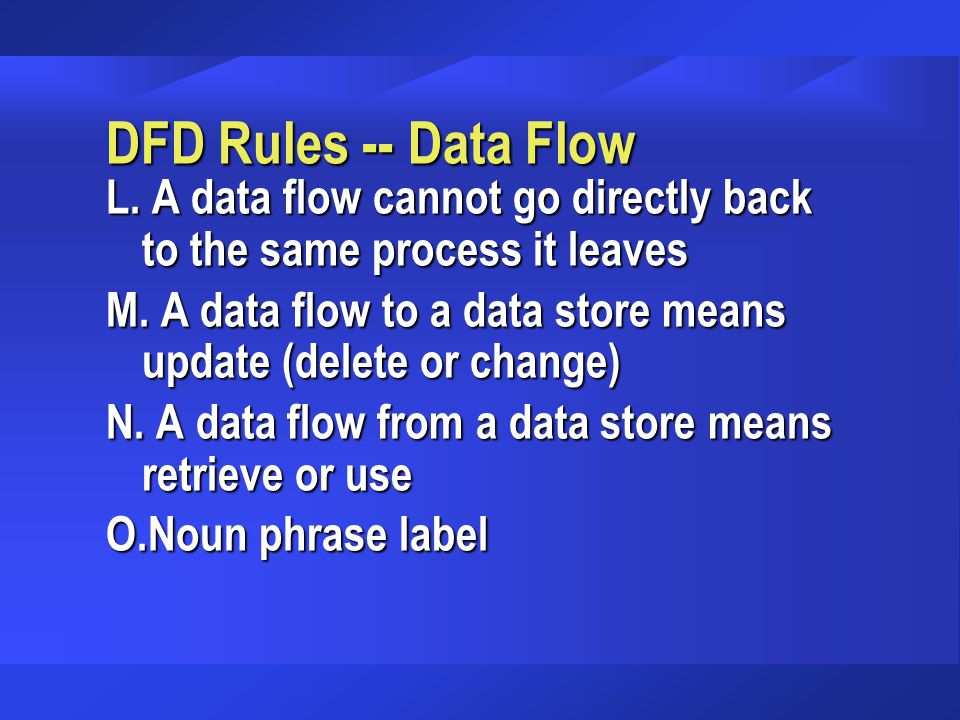 DFD Rules -- Data Flow L. A data flow cannot go directly back to the same process it leaves.