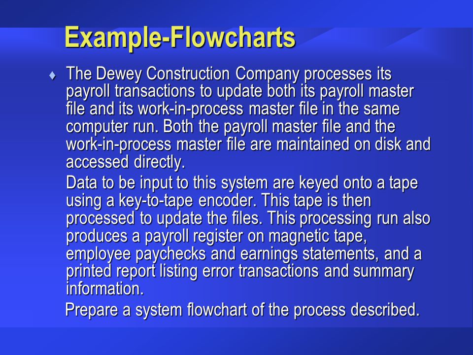 Prepare a system flowchart of the process described.