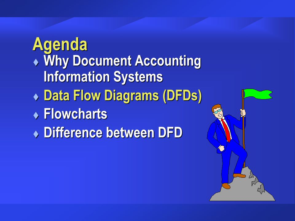 Agenda Why Document Accounting Information Systems