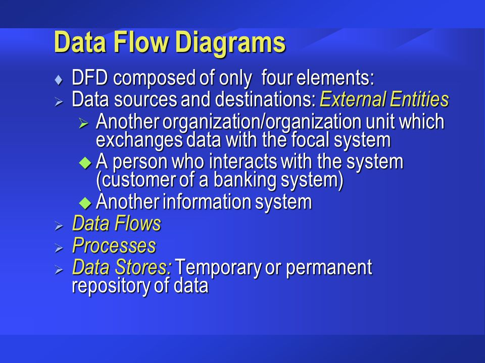 Data Flow Diagrams DFD composed of only four elements: