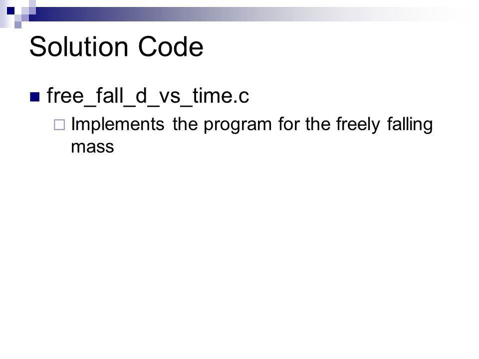 Solution Code free_fall_d_vs_time.c