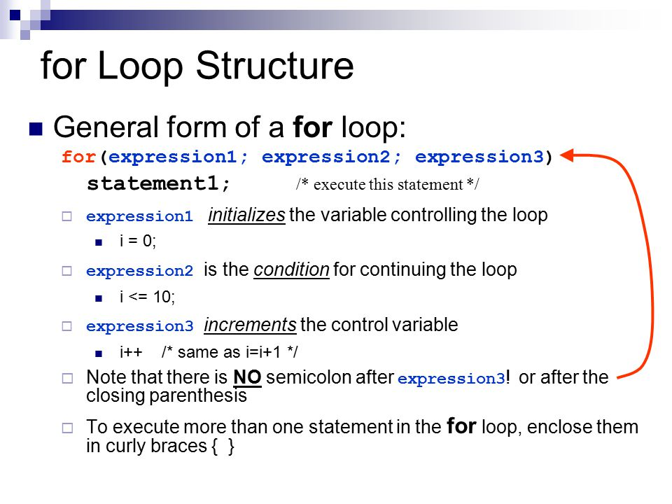 for Loop Structure General form of a for loop: