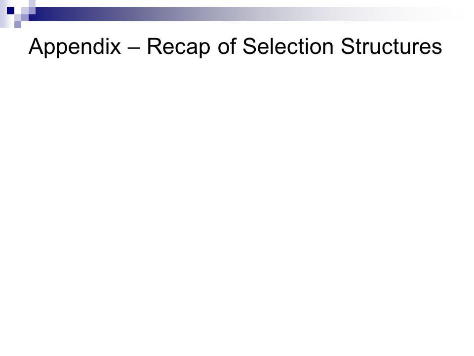 Appendix – Recap of Selection Structures