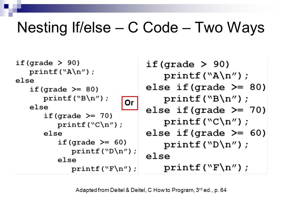 Nesting If/else – C Code – Two Ways