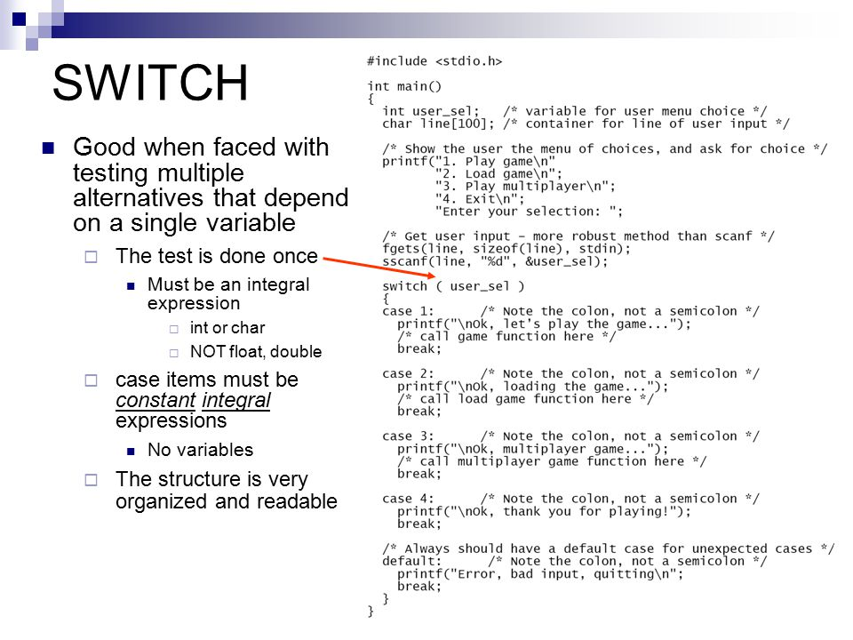 SWITCH Good when faced with testing multiple alternatives that depend on a single variable. The test is done once.