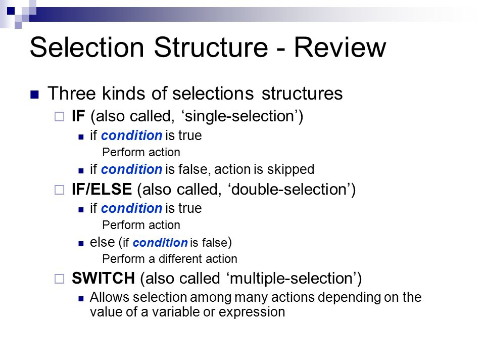 Selection Structure - Review