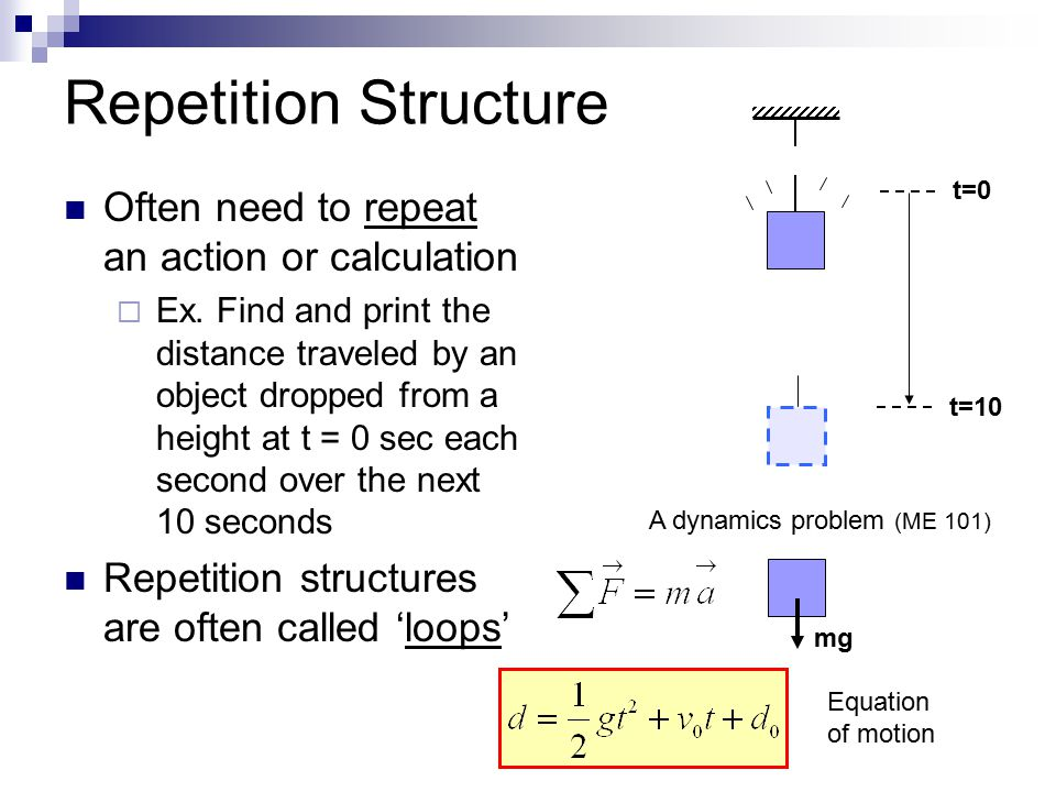 Repetition Structure Often need to repeat an action or calculation