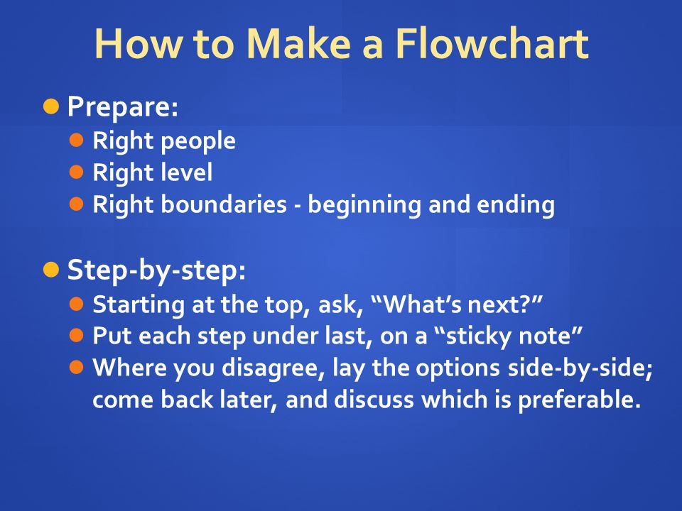 How to Make a Flowchart Prepare: Step-by-step: Right people