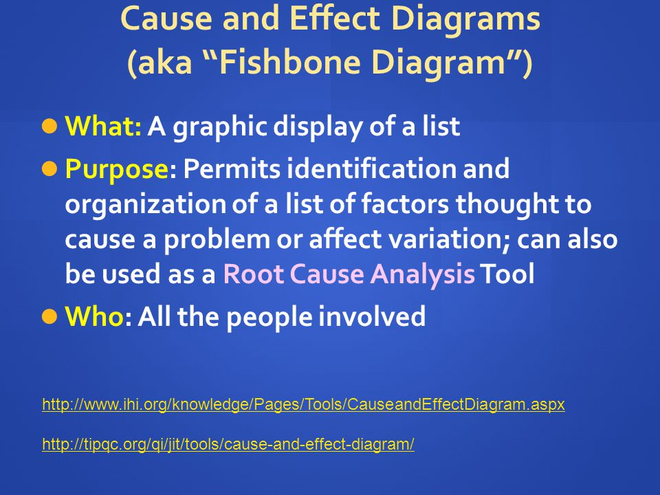 Cause and Effect Diagrams (aka Fishbone Diagram )
