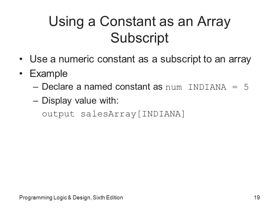 Using a Constant as an Array Subscript