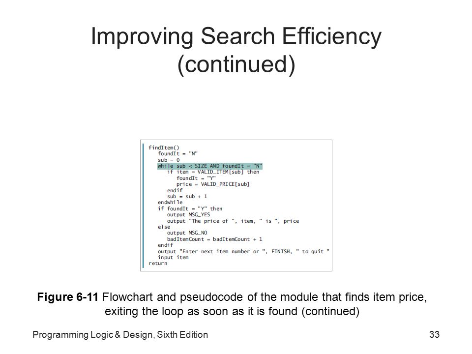 Improving Search Efficiency (continued)