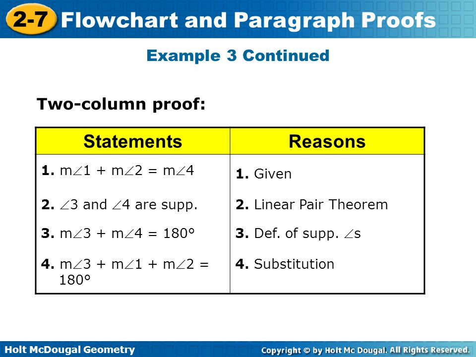 Statements Reasons Example 3 Continued Two-column proof: