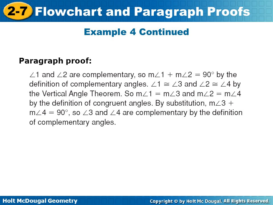 Example 4 Continued Paragraph proof: