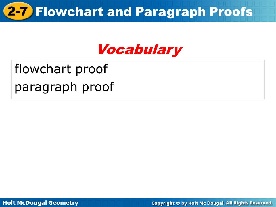 Vocabulary flowchart proof paragraph proof