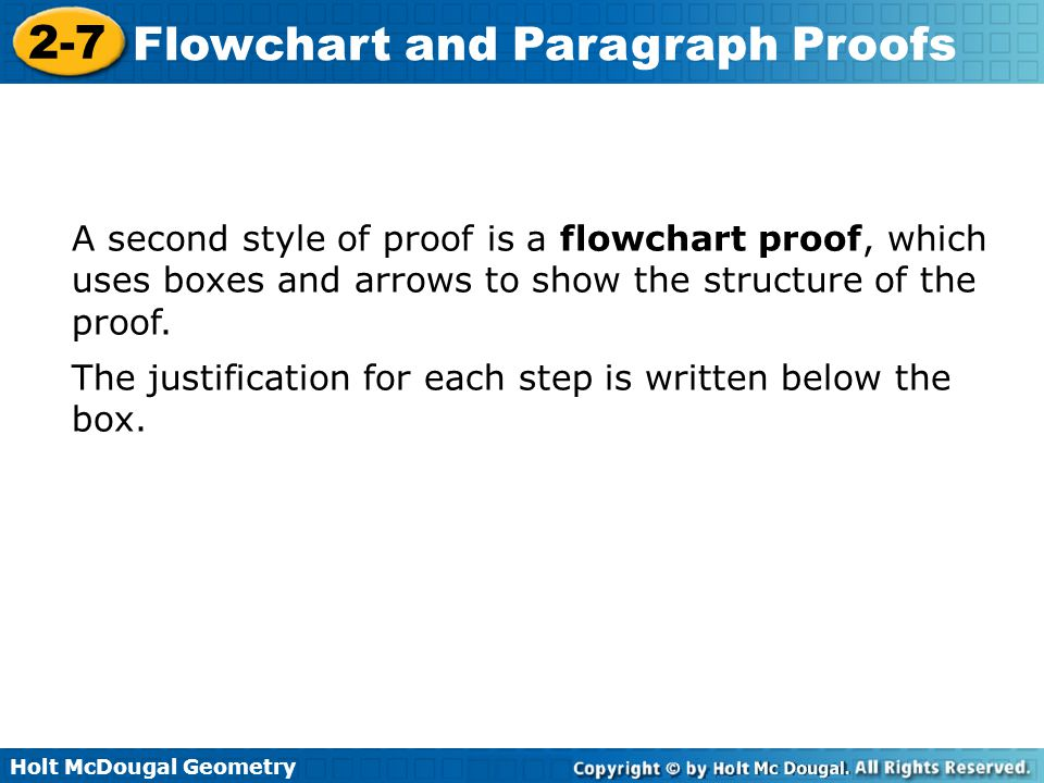 A second style of proof is a flowchart proof, which uses boxes and arrows to show the structure of the proof.